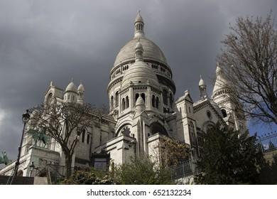 Basilica of the Sacred Heart of Paris. Photo taken in march 2016, neighborhood Montmartre, in Paris.