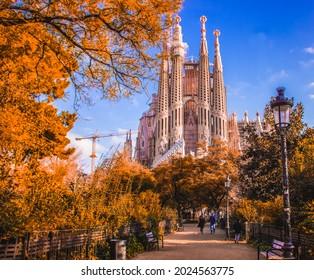 Basilica of the Sagrada Familia in Barcelona, Spain.