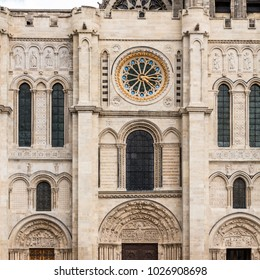 The Basilica of Saint Denis (Basilique Saint-Denis) is a large medieval abbey church in the city of Saint-Denis, now a northern suburb of Paris. Western facade with a clock. France