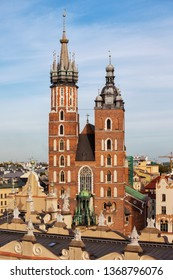 Basilica of Saint Mary in city of Krakow in Poland, Church of Our Lady Assumed into Heaven in the Old Town, Gothic architecture dating back to 14th century.