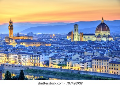Basilica of Saint Mary of the Flower and Palazzo Vecchio, Florence, Italy