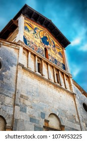 Basilica of San Frediano church in Lucca, Italy. Colorful religious mosaic.
