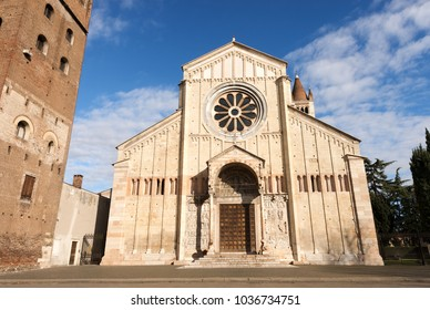 Basilica of San Zeno (X-XI century) in Verona - UNESCO world heritage site, Italy. Is considered one of the masterpieces of Romanesque architecture in Italy