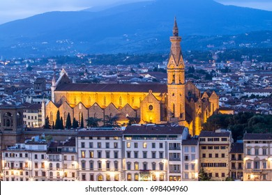 Basilica Santa Croce in Florence at night - viewed from Piazzale Michelangelo