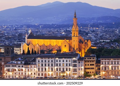 Basilica of Santa Croce in the night