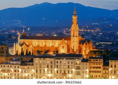 Basilica of Santa Croce in the night light.