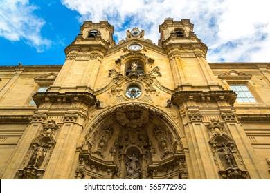 Basilica of Santa Maria del Coro in San Sebastian (Donostia) in a beautiful summer day, Spain