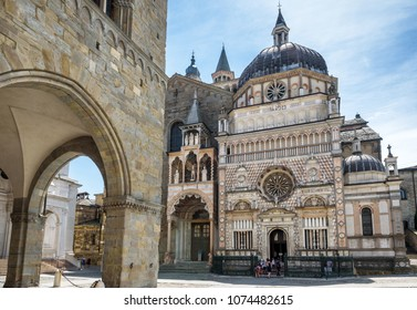 Basilica of Santa Maria Maggiore in Citta Alta, Bergamo, Italy. Historical architecture of Old town or Upper City in Bergamo. Beautiful medieval church in Bergamo in summer.