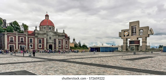 Basilica square of Our Lady of Guadalupe in Mexico city on a cloudy day