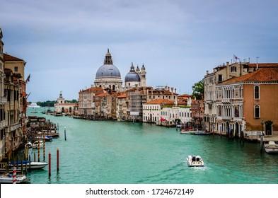 The Basilica of St Mary of Health or Basilica di Santa Maria della Salute at grand canal in Venice, Italy