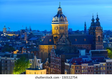 Basilica of St. Nicholas in the center of Amsterdam at night