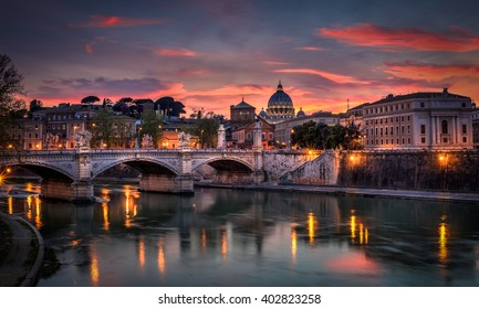 Basilica St Peter Rome sunset view, Italy