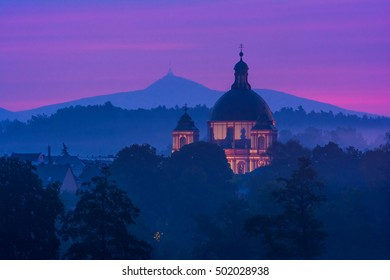 Basilica of St. Zdislava in town Jablonne v Podjestedi, in front of Jested mountain in the morning, Czech republic