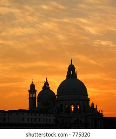 Basilica in venice  -  sunset