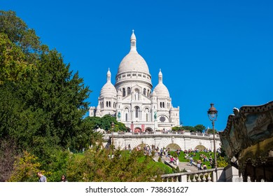 The Basilique du Sacre Coeur de Montmartre in Paris, France.
