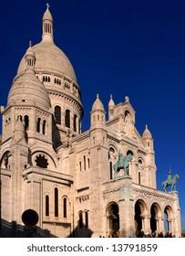 Basilique du Sacre Coeur with great blue sky in Montmartre, Paris, France. panoramic assemblage