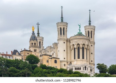 "Basilique Fourviere. View of Basilica of Notre Dame de Fourviere, Lyon, France. The ""La Fourviere"" Church in Lyon."