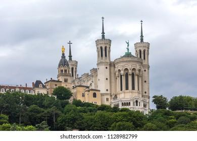 """Basilique Fourviere. View of Basilica of Notre Dame de Fourviere, Lyon, France. The """"La Fourviere"""" Church in Lyon."""
