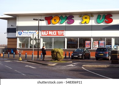 Basingstoke, UK - December 05 2016: Exterior of the Toys R Us superstore. Toys R Us is an international chain of toy shops