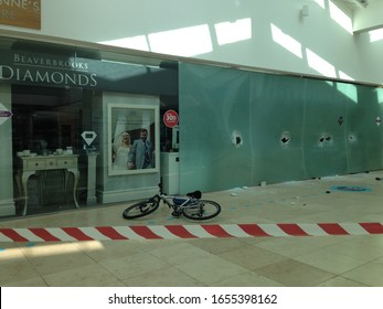 Basingstoke, UK- February 25, 2019: Smash and grab robbery aftermath at Beverbrook's jewellery shop in Festival Place, Basingstoke