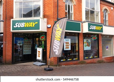 Basingstoke, UK - Jan 04 2016: Exterior of the Subway fast food outlet in Basingstoke, Hampshire situated in an old red brick building