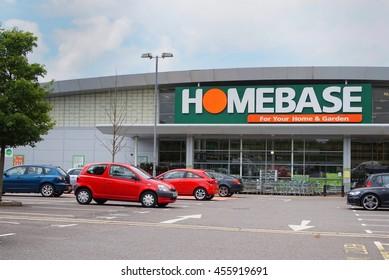 BASINGSTOKE, UK - JULY 20, 2016: Entrance and car park of the HomeBase DIY home improvement store