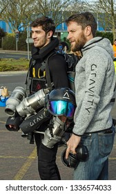 BASINGSTOKE, UK - MARCH 11, 2019:  Gravity Industries founder and inventor Richard Browning posing with jet pilot Ryan Hopgood after a successful demonstration of flying with a jet pack .