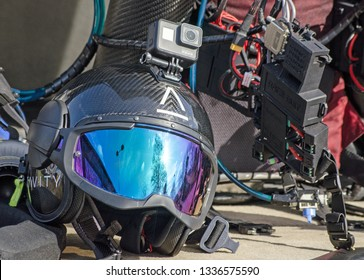 BASINGSTOKE, UK - MARCH 11, 2019: Specialist helmet branded for Gravity Industries to be worn by a pilot to use with an individual jet pack which will allow them to fly above the ground.