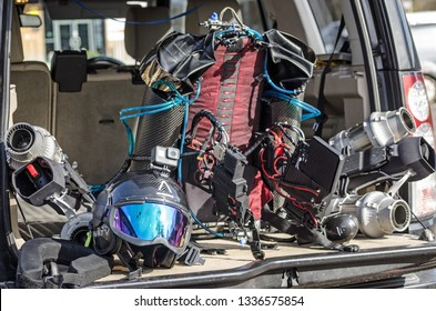 BASINGSTOKE, UK - MARCH 11, 2019: Jet pack and helmet produced by Gravity Industries. The jet engine produces enough power to allow the wearer to fly above ground.