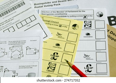 BASINGSTOKE, UK - MAY 3, 2015:  Ballot forms for postal voting in the local and general election for May 2015.