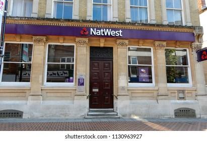 Basingstoke, United Kingdom - July 05 2018:   The front entrance to the NatWest bank Basingstoke branch  in London Street