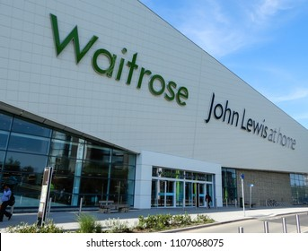 Basingstoke, United Kingdom - June 06 2018:   The new combined Waitrose supermarket and John Lewis home superstore on Churchill Way