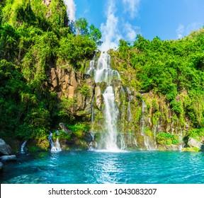 The basins of the Aigrettes and Cormoran waterfalls, La Reunion,