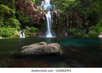The basins of the Aigrettes and Cormoran waterfalls, La Reunion