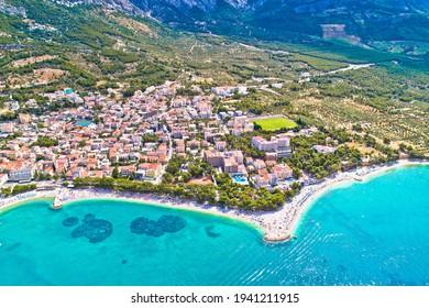 Baska Voda beach and waterfront aerial view, Makarska riviera in Dalmatia, Croatia - Shutterstock ID 1941211915