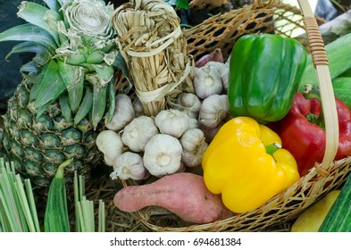 A basket of agricultural product after harvested from the farm, for cooking and agricultural product concept