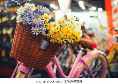 basket for a bicycle. Vintage style filter style bicycle with flower - vintage effect filter style images.