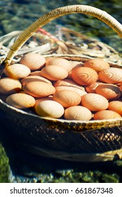 In the basket are boiled eggs at the hot spring at Chae Sorn National Park , Lampang