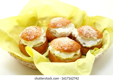 basket with buns, a shrove tide delicacy