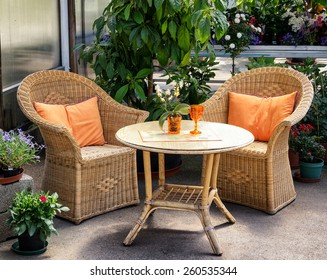 basket chairs at a patio