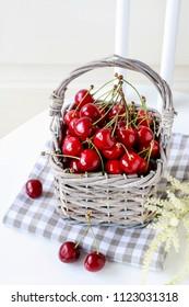 Basket of cherries.