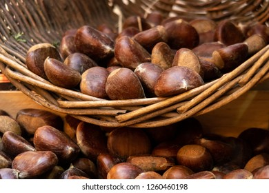 Basket of Chestnuts on display in London's Borough Market