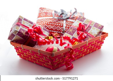 Basket with Christmas gifts