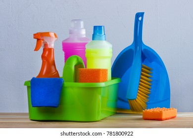 Basket with cleaning items.