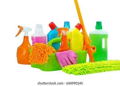 Basket with cleaning product,isolated