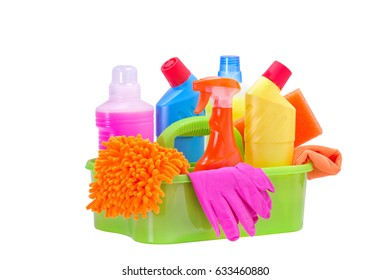 Basket with cleaning product,isolated.Cleaning service