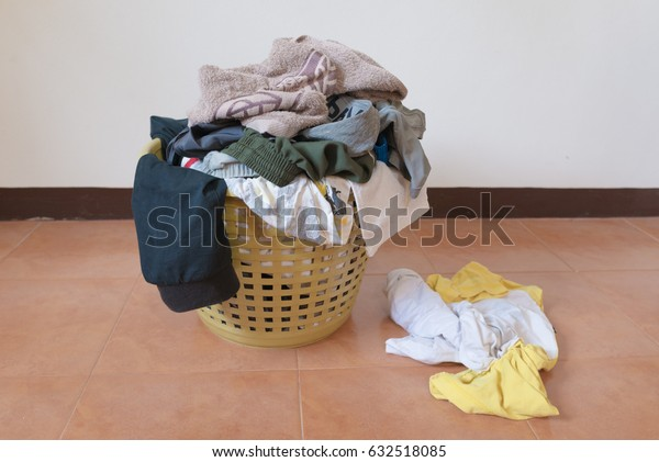 basket of cloths waiting for laundry and clean background space for editor use