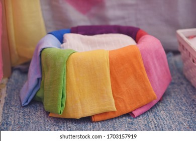 Basket with colored fabrics from Pedagogy Waldorf.