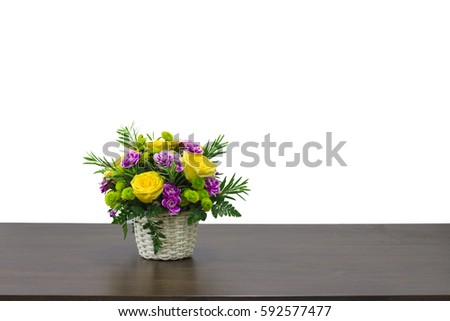 basket colorful flowers placed on brown stock photo edit now rh shutterstock com