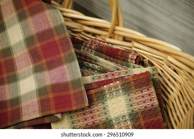 basket of country style plaid napkins